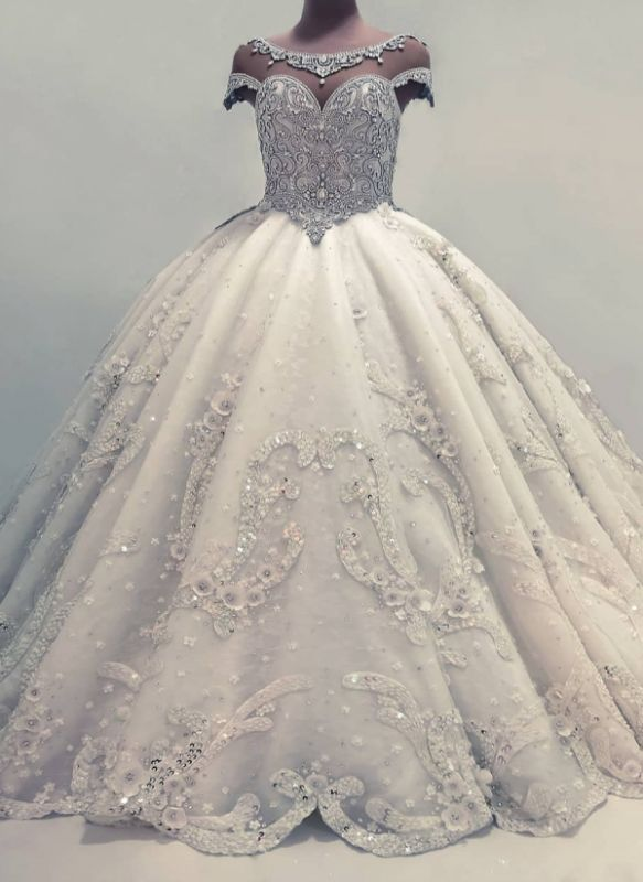 Luxury Ball Gown Wedding Dresses | Shiny Crystals Flowers Bridal Gowns BC0019