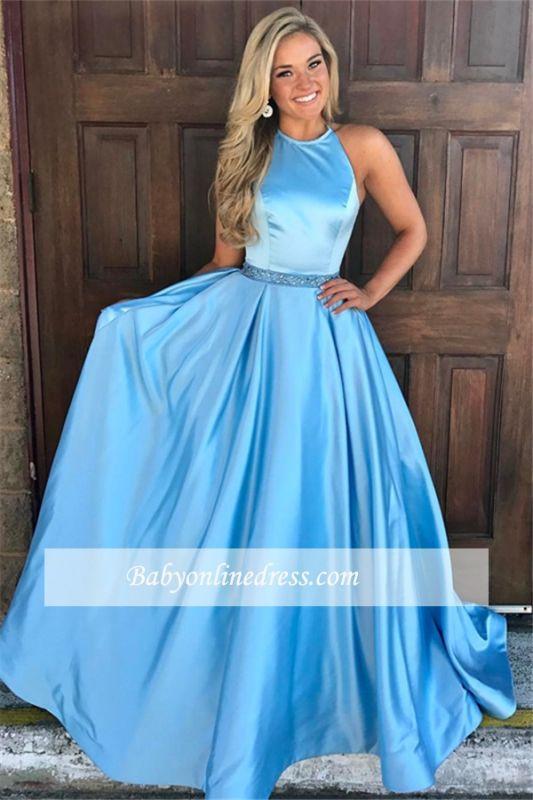 Modest Halter Sleeveless Prom Gowns | A-Line Ruffles Sash Evening Dresses