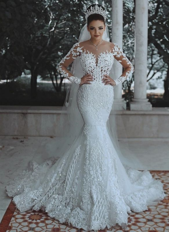 Gorgeous Long Sleeves Wedding Dresses | Appliques Beading Mermaid Bridal Gowns
