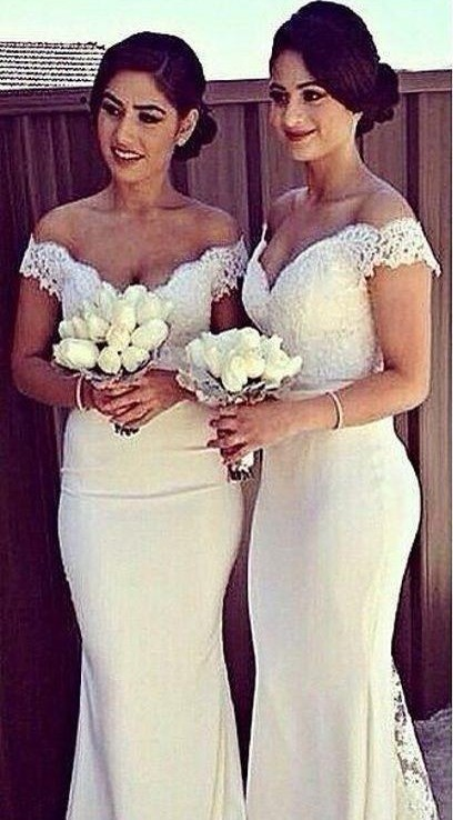 Off Shoulder Sheer Lace Mermaid Bridesmaid Dresses Sweetheart Buttons Back New Maid of Honor Dress