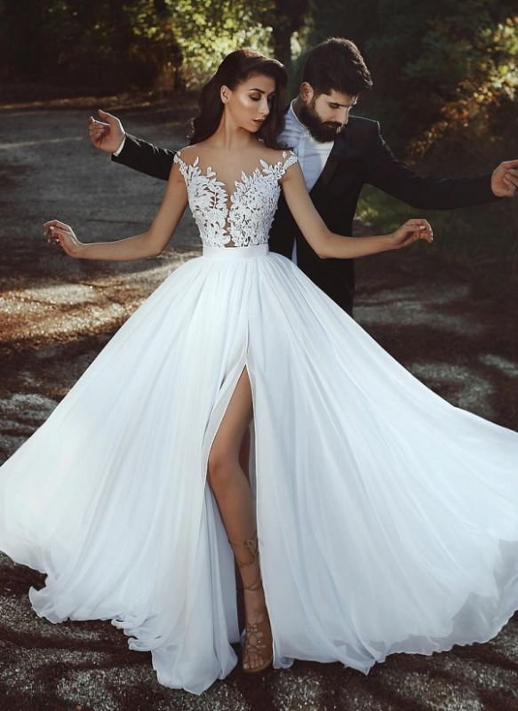 Summer Chiffon A-line Wedding Dresses | Capped Sleeves Lace Appliques Slit Bridal Gowns