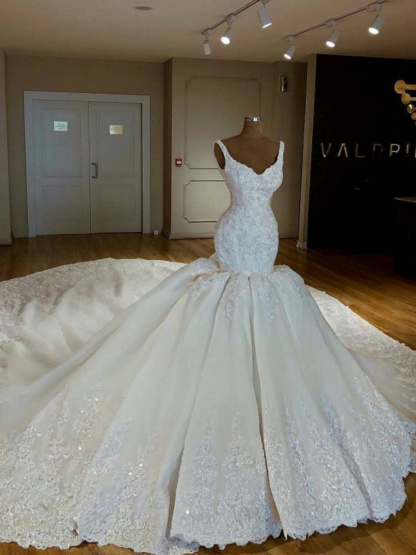 Shiny Beading Lace Mermaid Wedding Dresses | Sexy Straps Applique Bridal Gowns