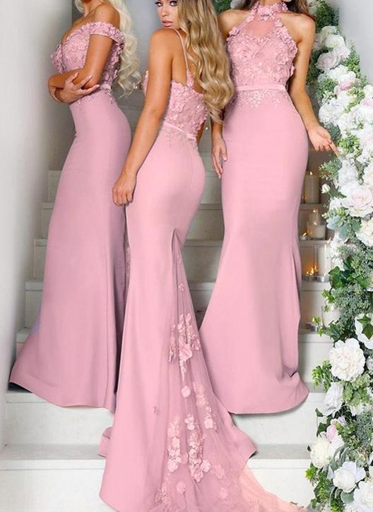 Elegant Pink Flowers Bridesmaid Dresses | Off-the-Shoulder Mermaid Maid of the Honor Dresses bc0640