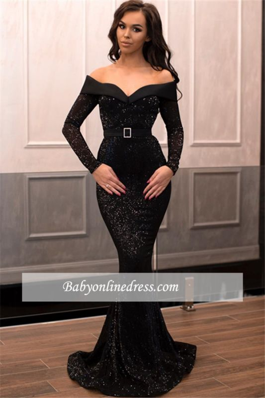 Charming Long Sleeves V-Neck Prom Dresses | Long Mermaid Ribbon Black Evening Gowns