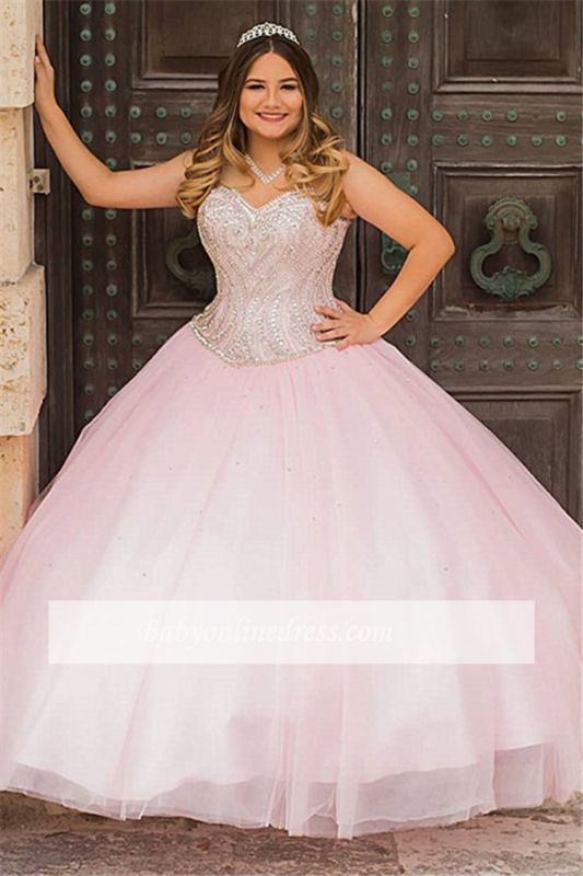 Sweetheart Alluring Sweet Ball-Gown Beaded Pink Strapless 16 Dresses