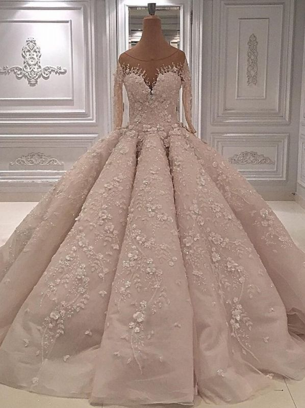 luxury Long Sleeves Ball Gown Wedding Dresses | Sheer Neck Lace Appliques Long Bridal Dresses