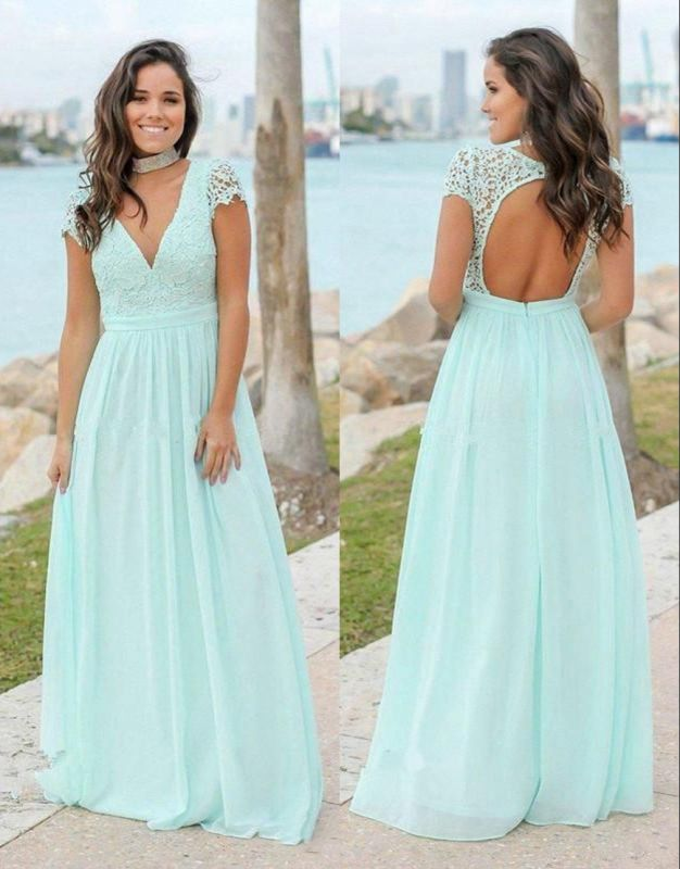 Mint Green Chiffon A-Line Bridesmaid Dresses   V-Neck Cap Sleeves Lace Applique Long Maid Of The Honor Dresses