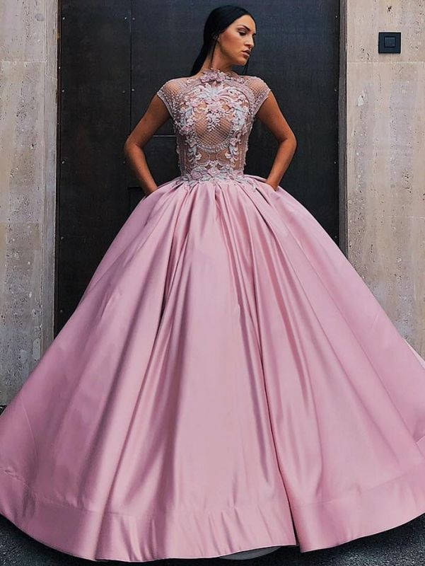 Luxury Floral Ball Gown Quinceanera Dress   Jewel Cap Sleeves Appliques Prom Dresses
