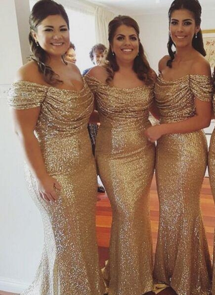 2021 Gold Sequins Bridesmaid Dresses Off the Shoulder Sexy Mermaid Maid of the Honor Dresses BA3186
