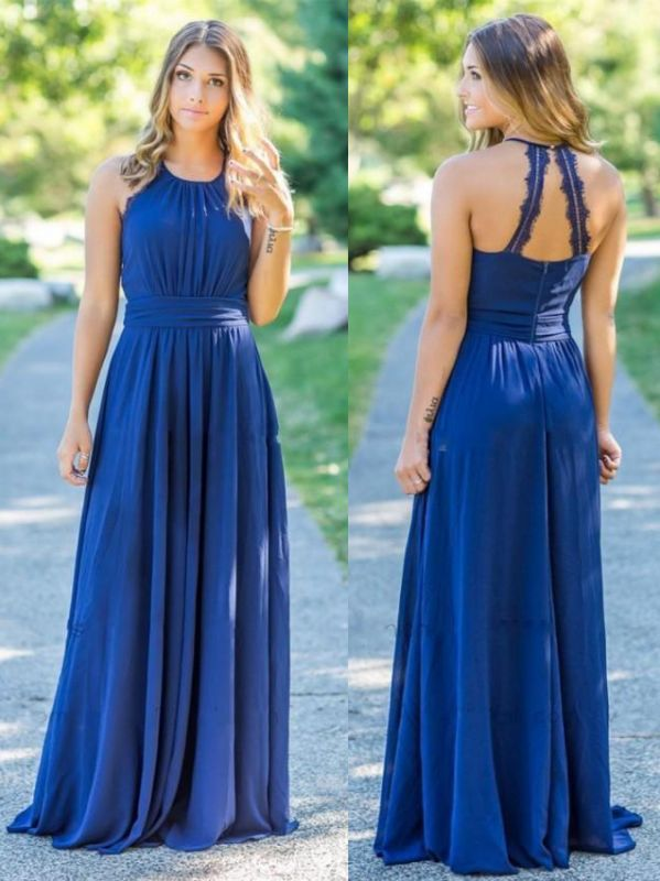 Simple Chiffon Long A-Line Bridesmaid Dresses   Halter Ruched Hollow Back Prom Dresses