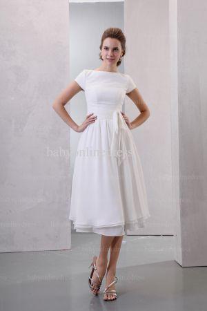 2021 Discount Elegant Dresses For Proms Wholesale Short Sleeves Simple Chiffon Dresses For Sale BO0518