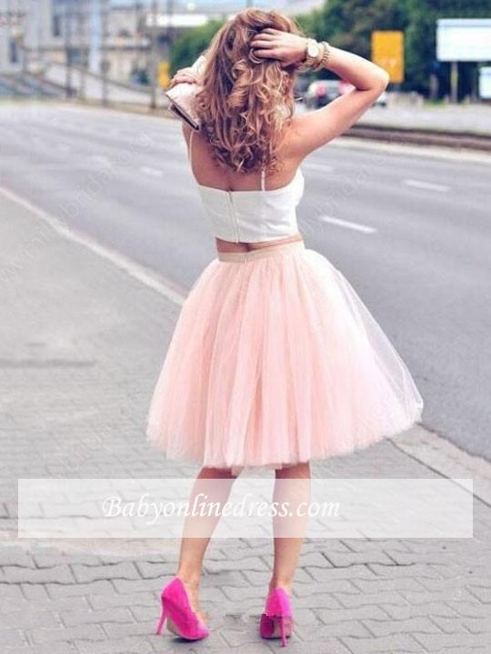 2021 Sexy Spaghetti-Strap Pink White Tulle Sleeveless Two-Piece-Homecoming-Dress
