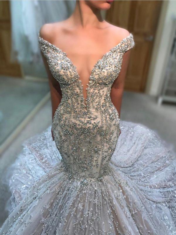 Luxury Beading Mermaid Wedding Dresses   Off The Shoulder Long Bridal Gowns