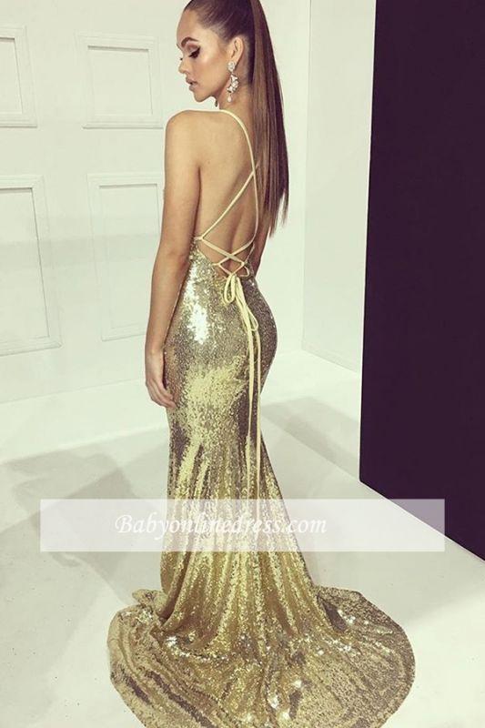 Side-Split Sheath Shining Evening Dresses | Halter Sequin-Lace 2021 Formal Gowns