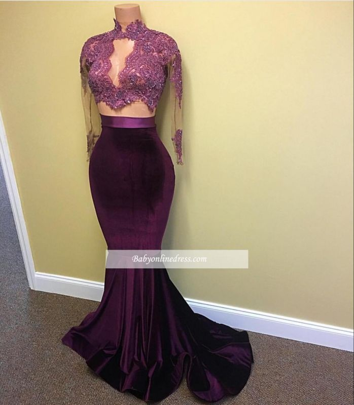Modest High-Neck Mermaid Prom Dress 2021 Lace-Appliques Long-Sleeve Evening Gowns BA4641