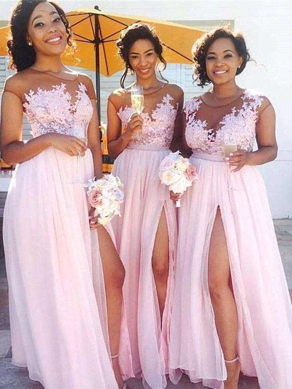 Exquisite Pink Chiffon A-Line Bridesmaid Dresses | Capped Sleeves Side Slit Maid Of The Honor Dresses