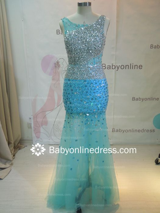Wholesale 2021 Long Prom Dresses Royal Blue Beaded Crystals Open Back Evening Dress 2945