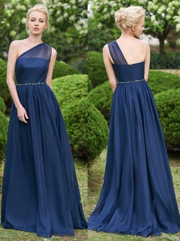 Fashion One-Shoulder A-Line Bridesmaid Dresses | Sleeveless Beaded Chiffon Wedding Party Dresses