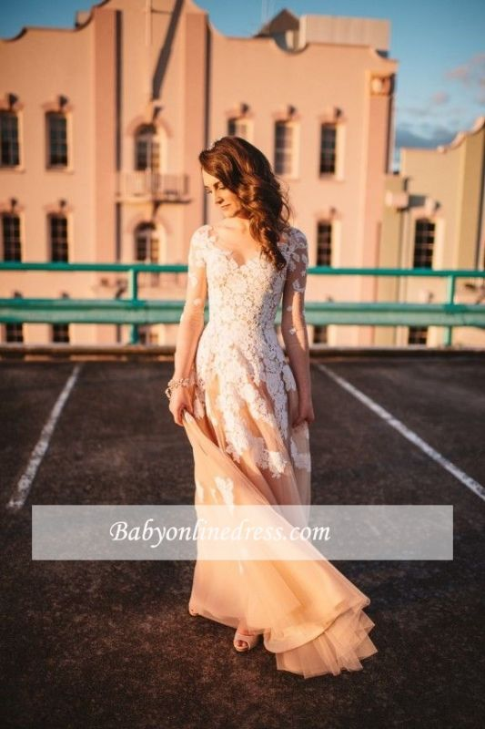 Gorgeous Tulle Lace Long-Sleeve A-Line Evening Dress