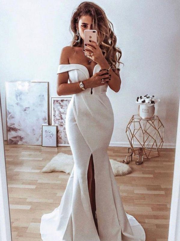 Simple Slit Mermaid Prom Dresses | Off The Shoulder Long Evening Dresses