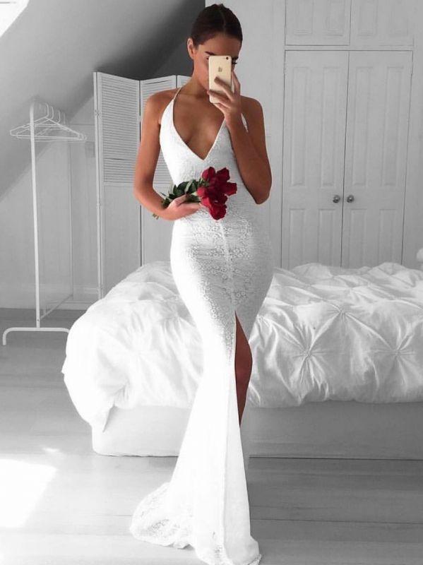 Sexy White Mermaid Prom Dresses | Spaghetti Straps Lace Slit Evening Dresses