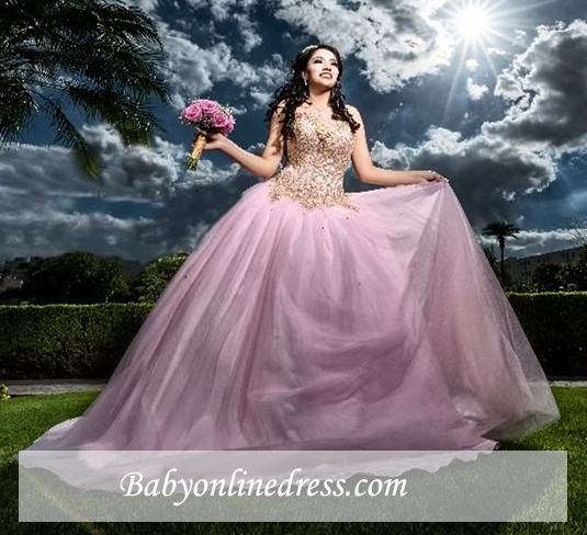 Sweetheart Appliques Sweet Fascinating Beaded Ball-Gown 16 Dresses