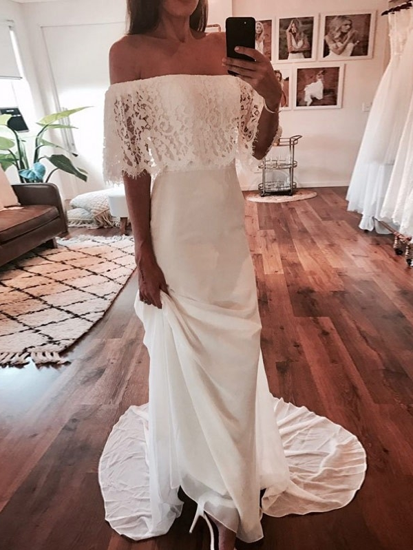 Chic Off-The-Shoulder Beach Wedding Dresses | Simple Lace Chiffon A-Line Bridal Gowns