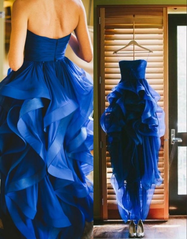 Royal Blue Hi-lo Ruffles Wedding Dresses Strapless Neck Bridal Gowns