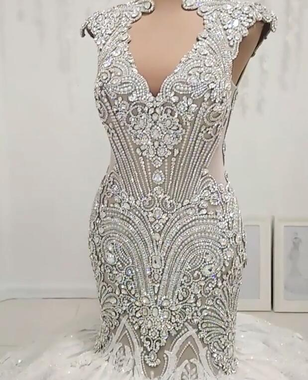 New In Crystals Mermaid Wedding Dresses | Capped Sleeves Open Back Bridal Gowns BC0502
