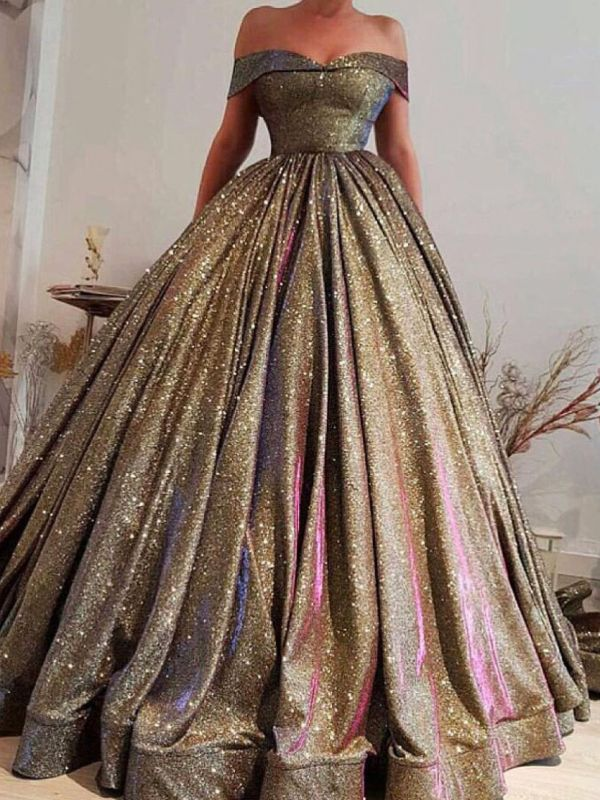 Luxury Ball Gown Prom Dresses | Off The Shoulder Sequins Evening Dresses