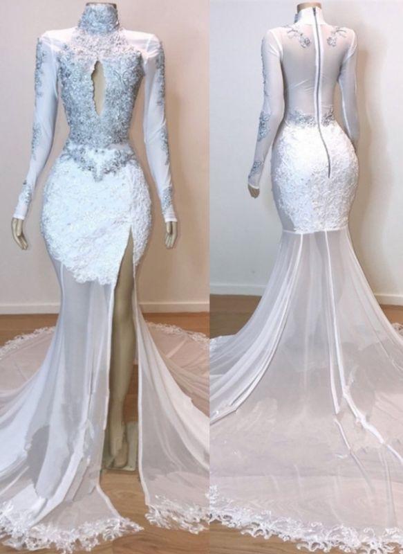 White High Neck Mermaid Prom Dresses | Long Sleeves Slit Evening Gowns