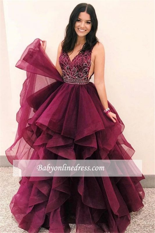 Gorgeous V-Neck Sleeveless Prom Gowns | Layers Burgundy 2021 Evening Dresses