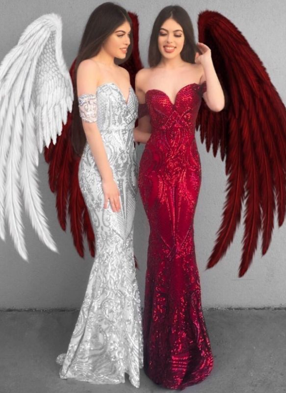 Glittering Off-the-Shoulder Prom Dresses | Sequins Mermaid Long Evening Gowns BC1359