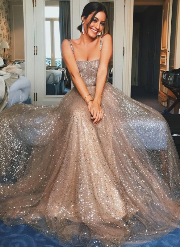 Shiny Sequin Straps Prom Dresses | Champagne Sleeveless A-Line Party Dresses