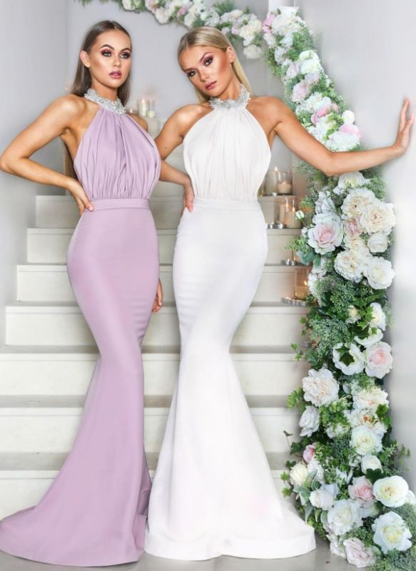 Sexy Halter Neck Beaded Bridesmaid Dresses | Open Back Long Maid of the Honor Dresses