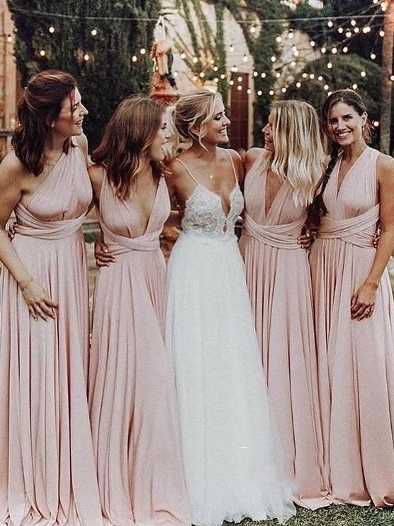 Pink Simply Chiffon Ruffles Sash Floor Lenngth A Line Bridesmaid Dresses
