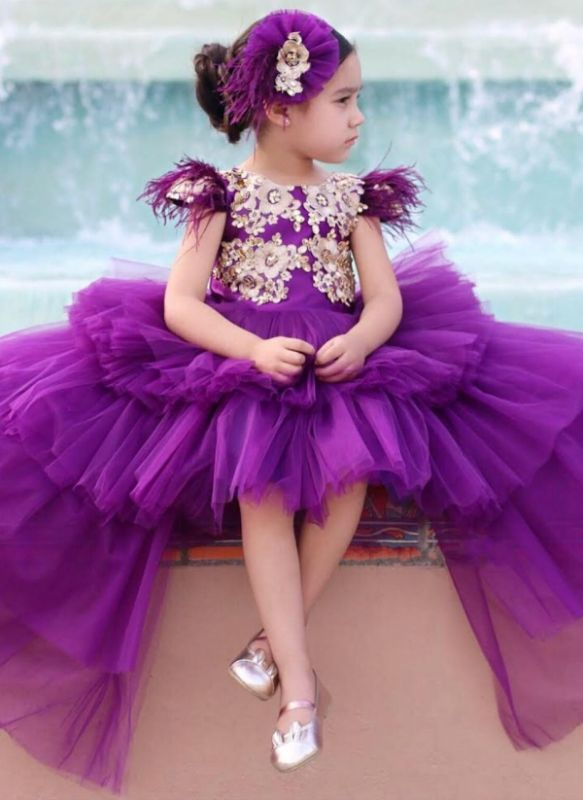 Cute Purple Tiers Tulle Flower Girl's Dress | Hi-Lo Girl's Pageant Dresses