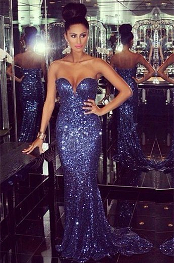 Sexy Sequined Mermaid Prom Dresses 2021 Sweetheart Sweep Train Sleeveless Evening Gowns
