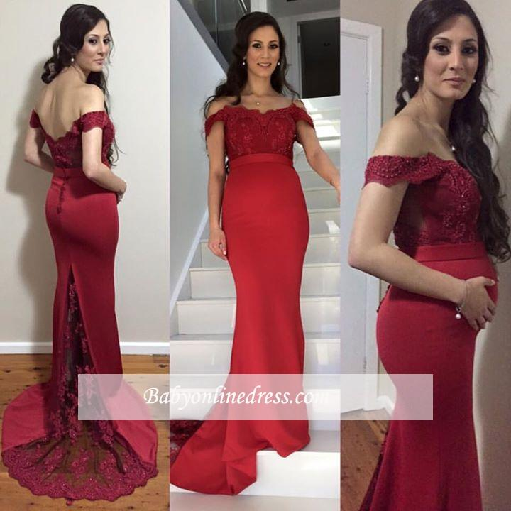 Red Mermaid Maternity Dresses | Elegant Off-the-Shoulder Baby Shower Gown