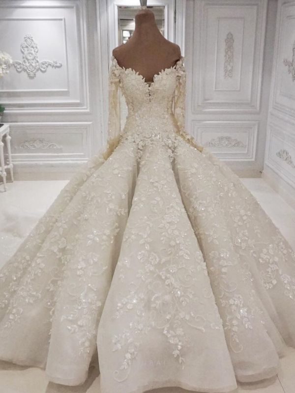 Elegant Off The Shoulder Ball Gown Wedding Dresses | Long Sleeves Lace Appliques Sequined Bridal Gowns