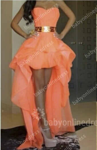 Sexy Hi-lo Orange Prom Dresses Sweetheart Gold Belt Asymmetrical A-line Homecoming Dresses