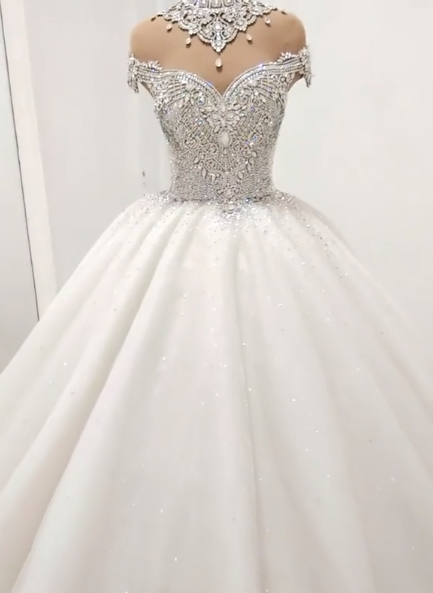 Luxury Crystals Ball Gown Wedding Dresses   Shiny High Neck Bridal Gowns BC1116
