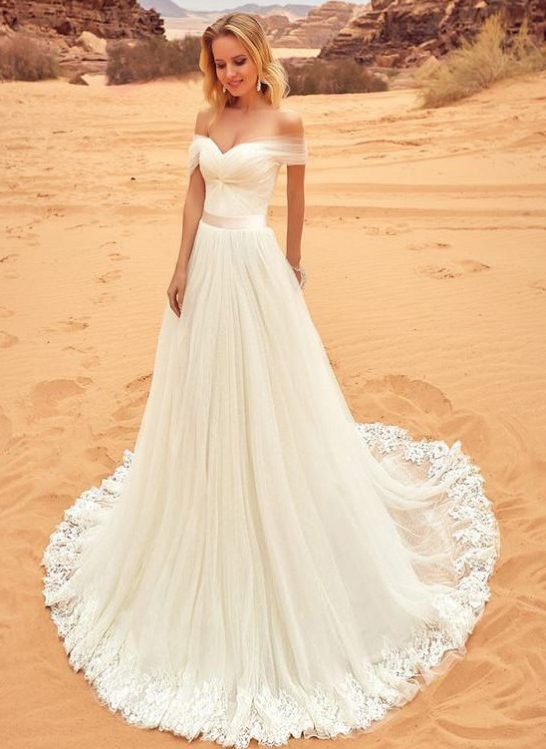 Summer Tulle A-line Wedding Dresses | Off-the-Shoulder Bridal Gowns