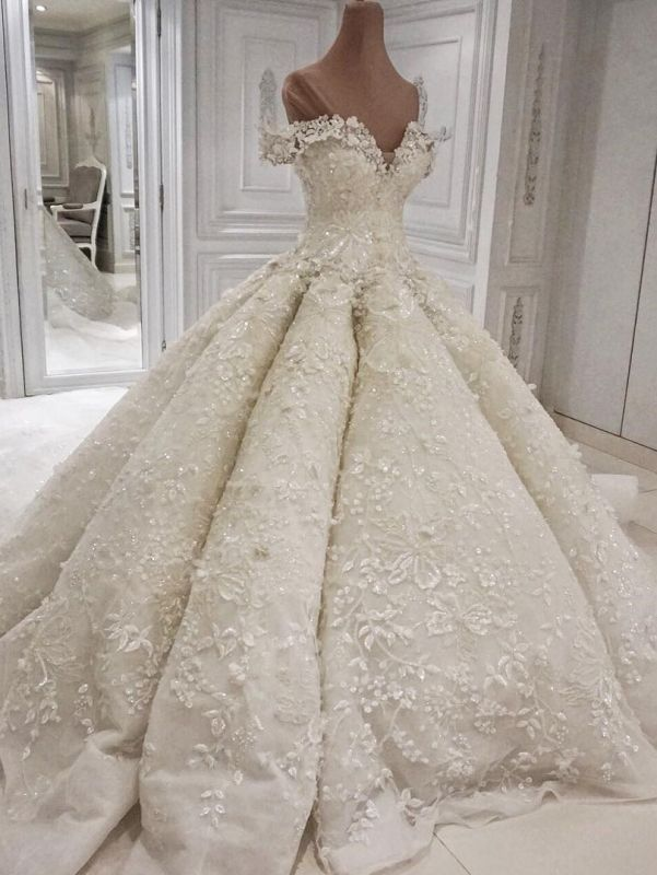 Glamorous Floral Ball Gown Wedding Dresses   Off The Shoulder Lace Bridal Dresses