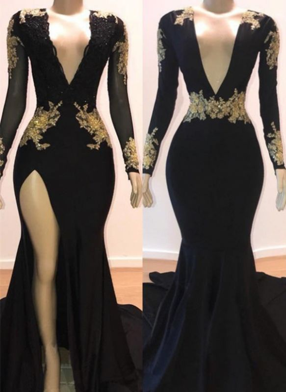 Sexy Black Mermaid Prom Dresses | Deep V-Neck Gold Appliques Evening Gowns