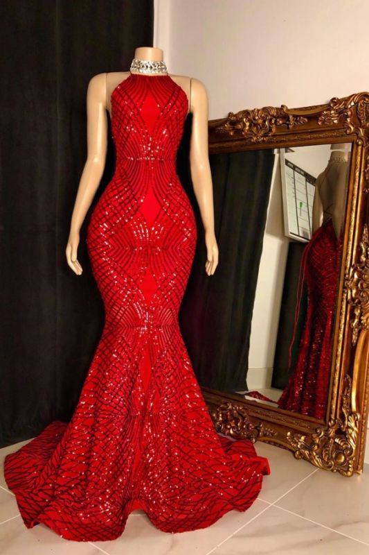 Red Sexy Halter Deep-v-neck Front-slit Criss-cross Mermaid Prom Dresses