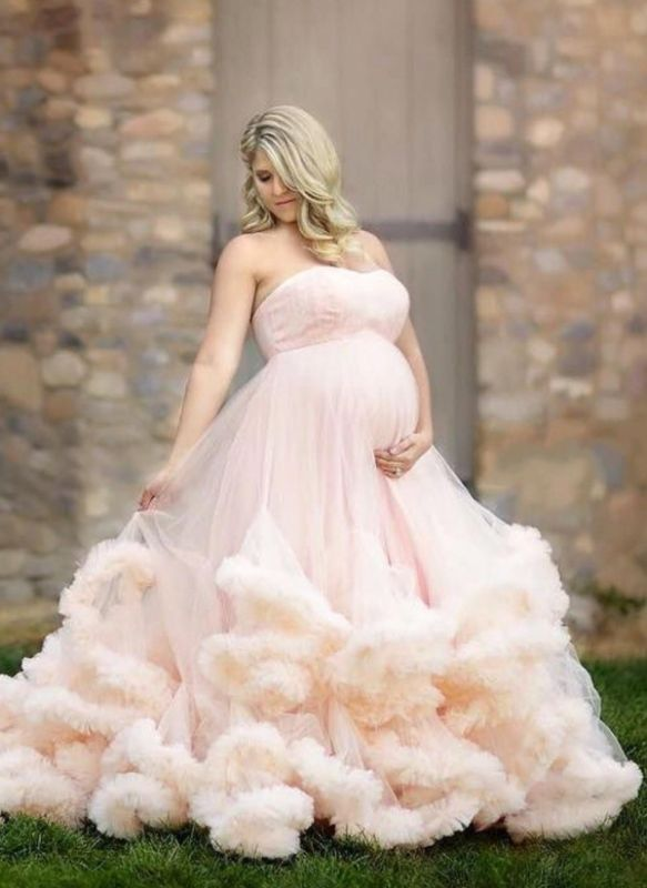 Long Pink Strapless Cloud Pregnant Maternity Wedding Dresses