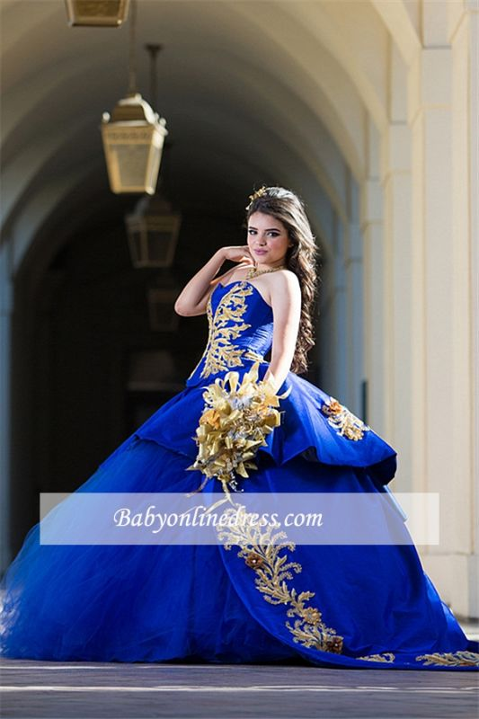 Ball-Gown Appliques Sweetheart Strapless Royal-Blue Excellent Quince Dresses