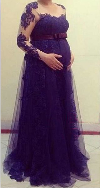 Purple Pregnant Women Party Dresses Long Sleeves Maternity Formal Evening Gowns