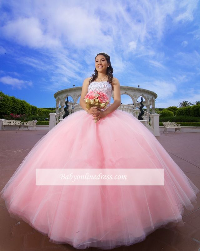 Strapless Appliques Ball-Gown Glorious Beaded Quinceanera Dresses